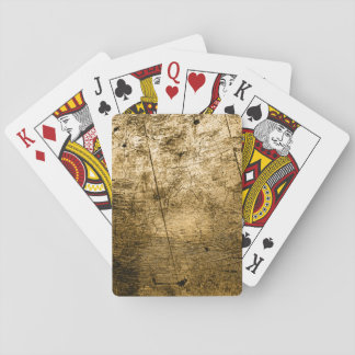 Golden Beige Faux Wood Grain Playing Cards
