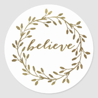 Golden Believe | Pretty Wreath Sticker