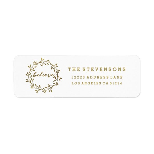 Golden Believe | Wreath Holiday Address Labels
