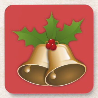 Golden Bells and Holly Set of Coasters