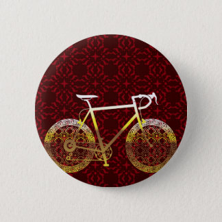 Golden Bicycle Vector Art 2 Inch Round Button