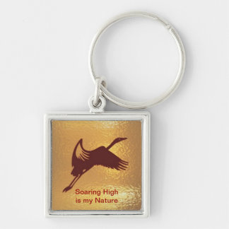 Golden Bird - Soaring High is my nature Silver-Colored Square Keychain