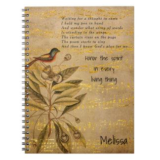 Golden Birdsong on Parchment Notebook
