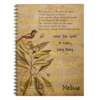 Golden Birdsong on Parchment Notebooks
