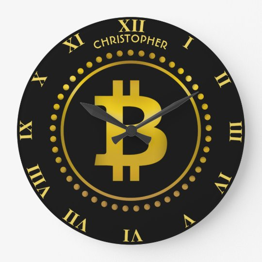 Golden Bitcoin Symbol Cryptocurrency HODL Funny Large Clock