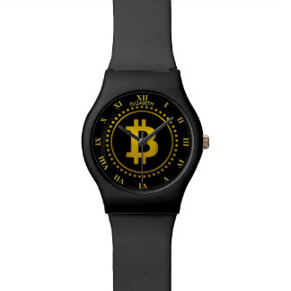 Golden Bitcoin Symbol Cryptocurrency HODL Funny Watch