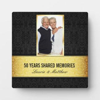 Golden Black Damask Photo Frame 50th Anniversary