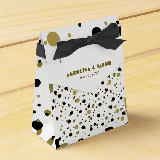 Golden Black Dots Modern Stylish Confetti Wedding Favor Box
