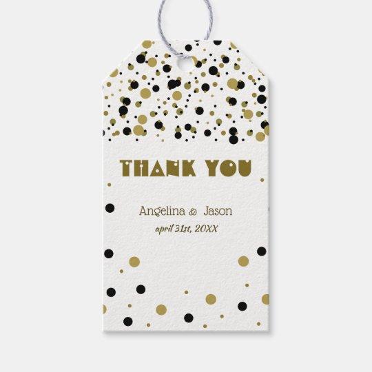 Golden Black Dots Modern Stylish Confetti Wedding Gift Tags