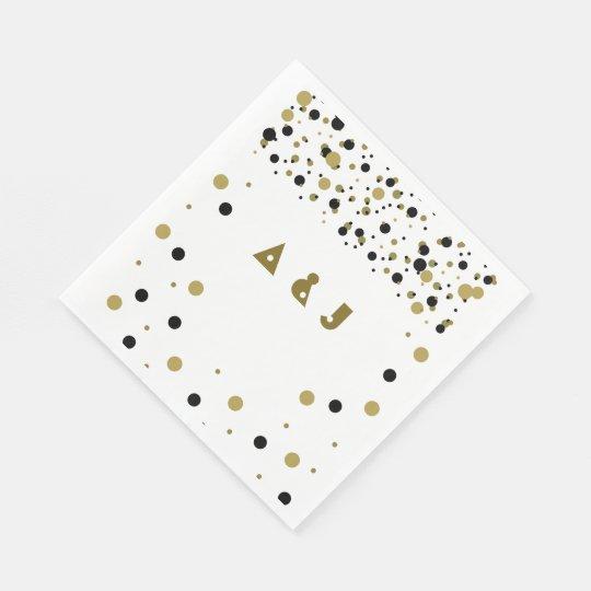 Golden Black Dots Modern Stylish Confetti Wedding Paper Napkin