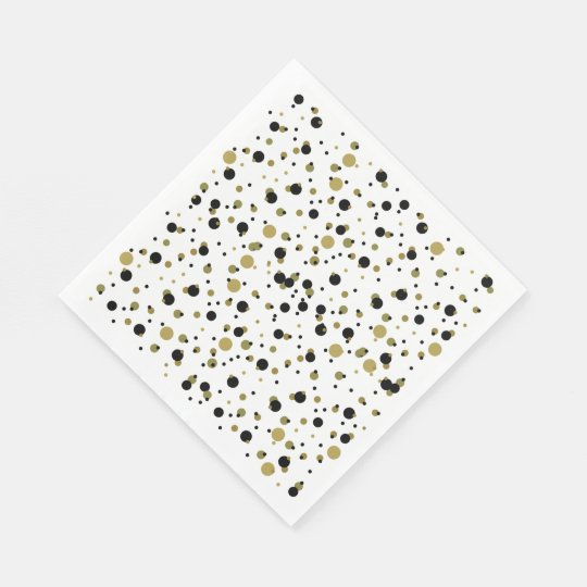 Golden Black Dots Modern Stylish Confetti Wedding Paper Napkins