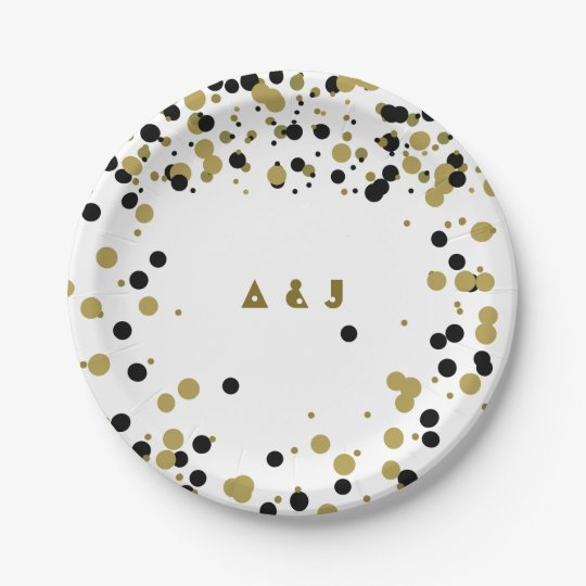 Golden Black Dots Modern Stylish Confetti Wedding Paper Plate