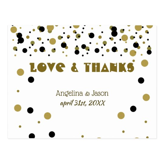Golden Black Dots Wedding Modern Stylish Confetti Postcard