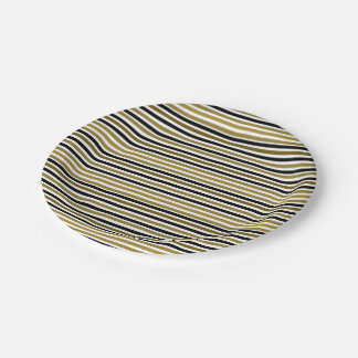 Golden Black Stripes Modern Stylish Chic Wedding Paper Plate