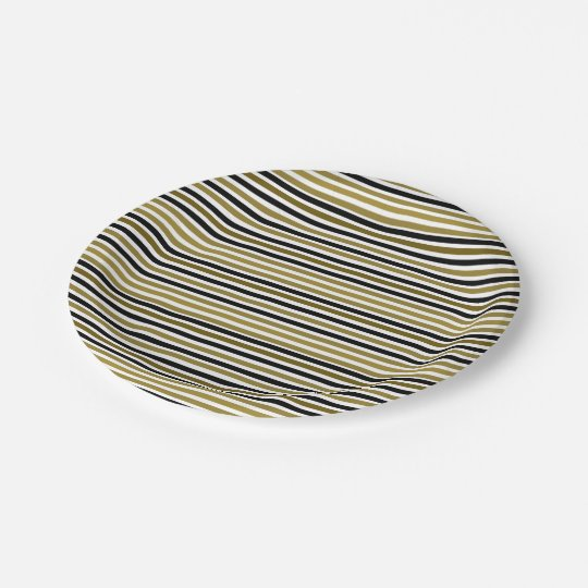 Golden Black Stripes Modern Stylish Chic Wedding Paper Plate