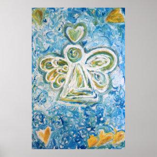 Golden Blue Angel Art Poster Print