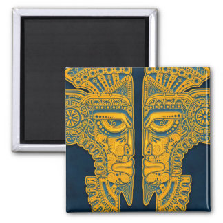 Golden Blue Aztec Twins Magnet