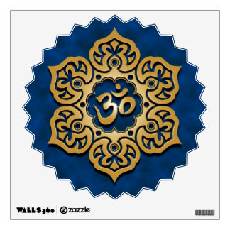 Golden Blue Floral Om Wall Decal