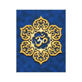 Golden Blue Lotus Flower Om Stretched Canvas Print