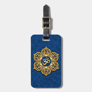 Golden Blue Lotus Flower Om Tag For Luggage