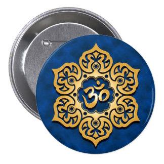 Golden Blue Lotus Flower Om Pinback Button