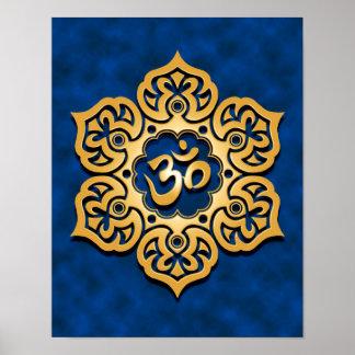 Golden Blue Lotus Flower Om Posters