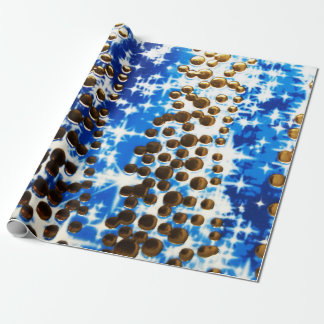 Golden blue sparkly dots wrapping paper