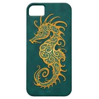 Golden Blue Tribal Seahorse iPhone 5 Case