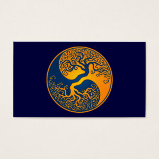 Golden BlueTree of Life Yin Yang Business Card