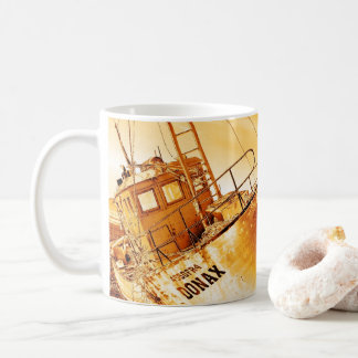 Golden boat coffee mug