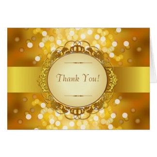 Golden Bokeh 50th Anniversary Thank You Card
