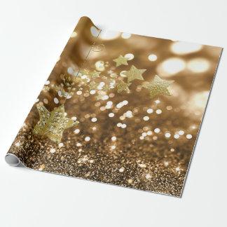 Golden Bokeh Faux Glitter & Stars Wrapping Paper