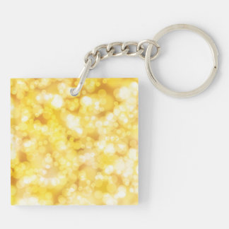 Golden Bokeh Glitter Double-Sided Square Acrylic Keychain