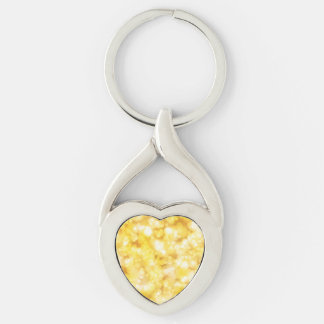 Golden Bokeh Glitter Silver-Colored Twisted Heart Keychain