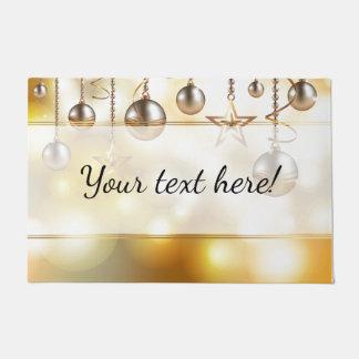 Golden Bokeh Lights, Stars & Baubles | Christmas Doormat