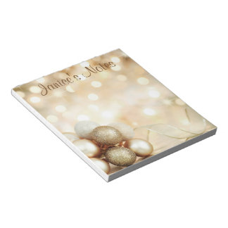 Golden Bokeh Ornament Balls Notepad