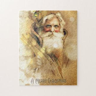 Golden Bokeh vintage Santa Claus Jigsaw Puzzle