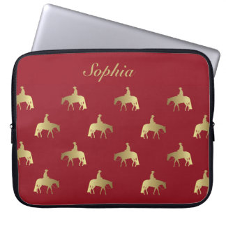 Golden/Bordeaux Pleasure Horses Laptop Sleeve