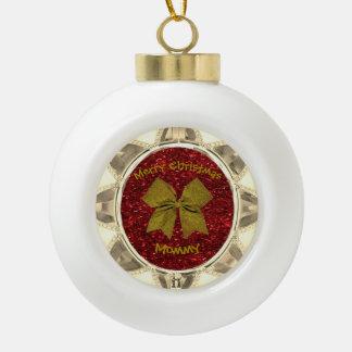 Golden Bow Ceramic Ball Christmas Ornament