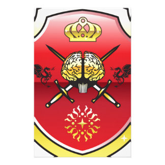 Golden brain. Shield with swords. Royal mind. Stationery Paper