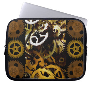 Golden Brass Clockwork Gears Laptop cover