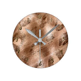 Golden Bronze Cheetah Leopard Print Spots Custom Round Clock