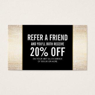 Golden Bronze Confetti Dots Salon Referral Card