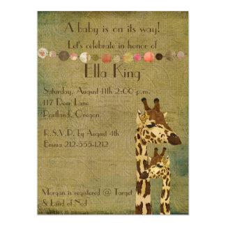 Golden Bronze Giraffes Baby Invitation