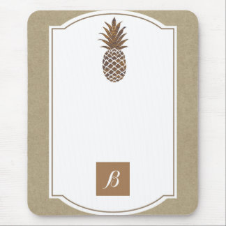 Golden Bronze Pineapple Kraft Elegant Tropical Mouse Pad