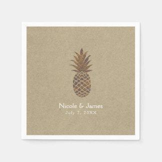 Golden Bronze Pineapple Kraft Natural Tropical Disposable Napkin