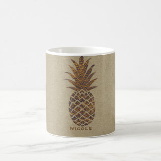 Golden Bronze Pineapple Tropical Personalized Coffee Mug