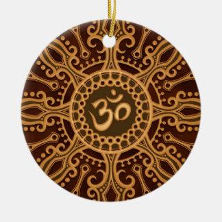 Golden Brown Aum Star Ceramic Ornament