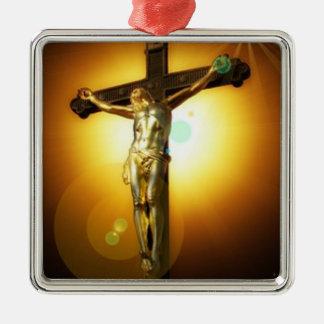 Golden Brown Crucifix Chrismas Ceramic Ornament