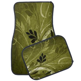 Golden Brown Floral Grunge Floor Mat